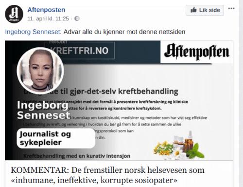 Ingeborg Senneset sprer artikkelen ved hjelp av løgn og bedrag.l